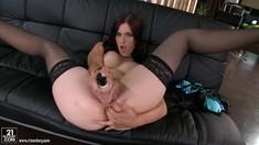 Sexy Babe Mira Sunset Masturbating Both Holes
