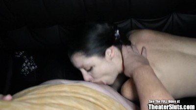 Skinny Pale Brunette Slut Gang Fuck In Porno Theater