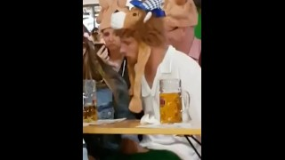 Pissed Dude Gets His Nice Long Dick Wanked In Public During Oktoberfest