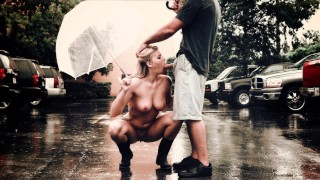 BANGBROS – Busty Blonde Babe Lexi Davis Sucking Dick In The Rain