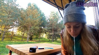 Handjob And Blowjob In A Public Park From A Smoking Blonde